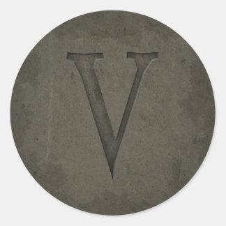 Concrete Monogram Letter V Round Sticker