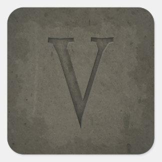 Concrete Monogram Letter V Sticker