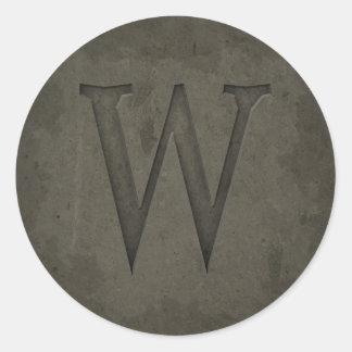 Concrete Monogram Letter W Sticker