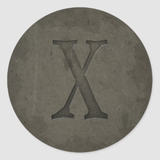 Concrete Monogram Letter X Round Sticker