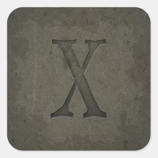 Concrete Monogram Letter X Stickers