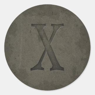 Concrete Monogram Letter X Sticker
