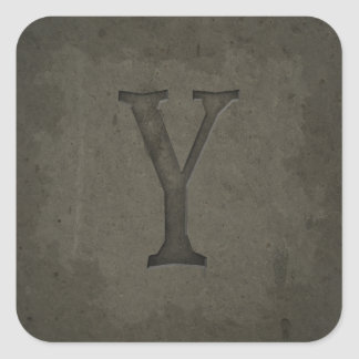 Concrete Monogram Letter Y Square Sticker