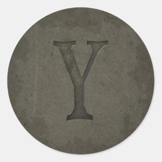 Concrete Monogram Letter Y Stickers