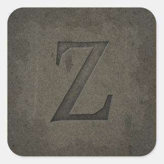 Concrete Monogram Letter Z Square Sticker