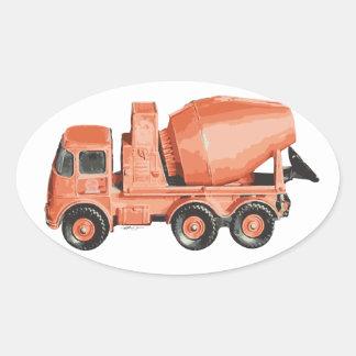 Concrete Orange Cement Toy Truck Oval Sticker