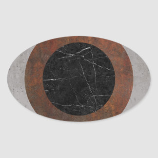 Concrete, Rusted Iron, and Black Marble Abstract Oval Sticker
