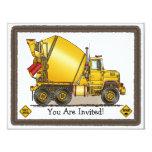 """Concrete Truck Kids Party Invitation 4.25"""" X 5.5"""" Invitation Card"""