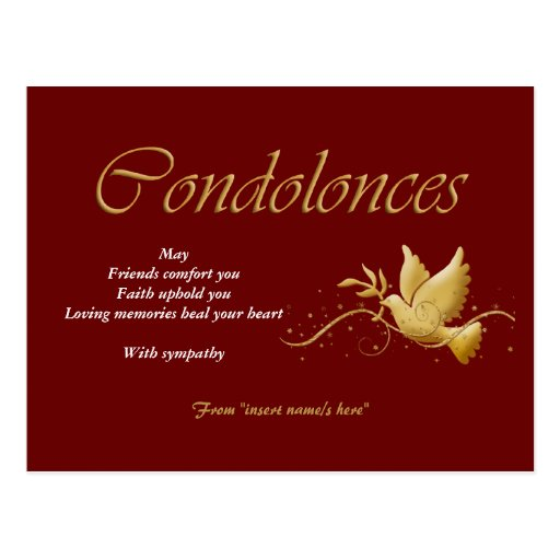 Condolence funeral bereavement post cards