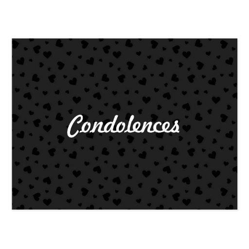 Condolences - Black Hearts Postcard