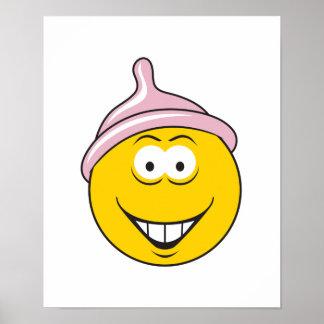 Condom Smiley Face Poster