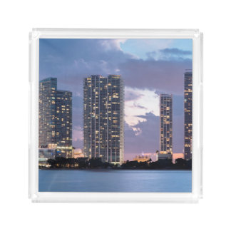 Condominium towers at the waterfront in Miami Acrylic Tray