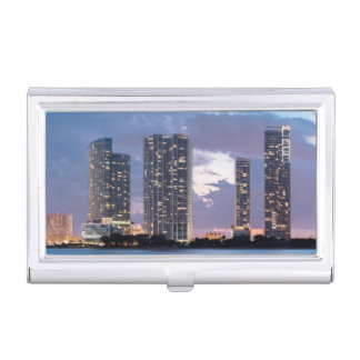 Condominium towers at the waterfront in Miami Business Card Holder