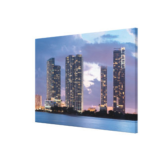 Condominium towers at the waterfront in Miami Canvas Print