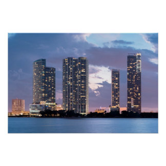 Condominium towers at the waterfront in Miami Poster