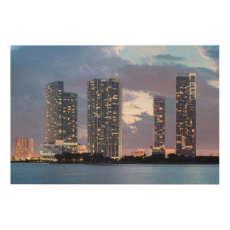 Condominium towers at the waterfront in Miami Wood Wall Decor