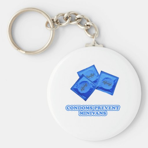 Condoms Prevent Minivans Basic Round Button Key Ring