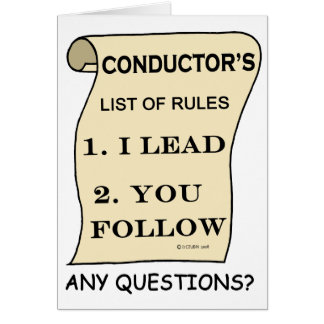 Conductor List Of Rules Card