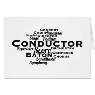 Conductor Word Cloud BLACK Text Card
