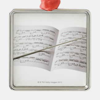 Conductor's Baton Silver-Colored Square Decoration