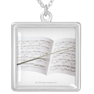 Conductor's Baton Silver Plated Necklace