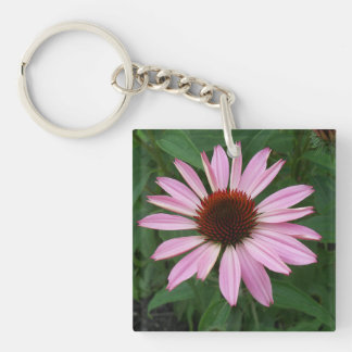 Cone Flower and Green Single-Sided Square Acrylic Key Ring