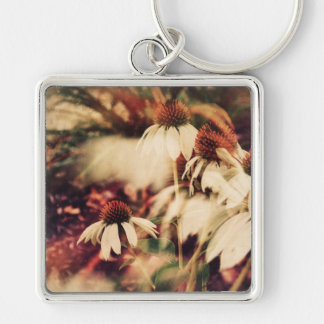 Cone Flowers (Cool Colors) Silver-Colored Square Key Ring