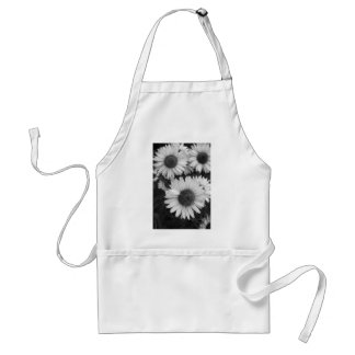 Cone Flowers - Daisy - In Black and White Aprons