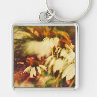 Cone Flowers (Warm Colors) Silver-Colored Square Key Ring