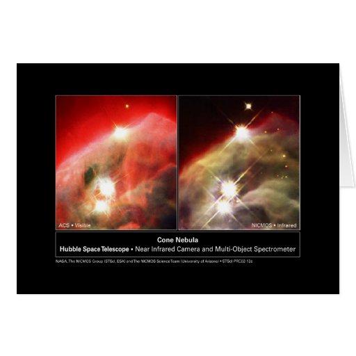 Cone Nebula NGC 2264 Hubble Visible vs. Infrared Greeting Card