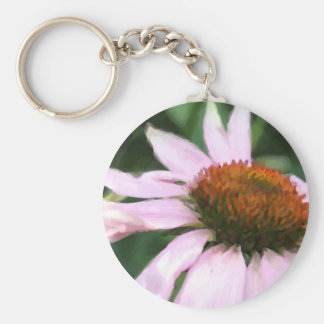 coneflower dancing impressionist painting.jpg basic round button key ring