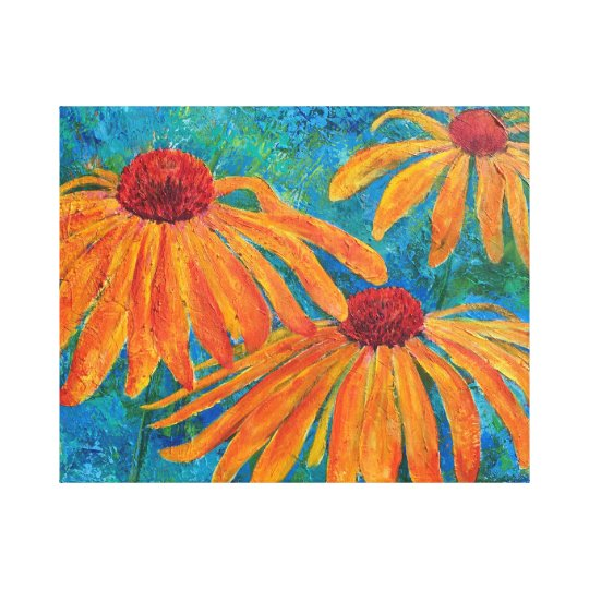 """Coneflower Trio"" Canvas Print"