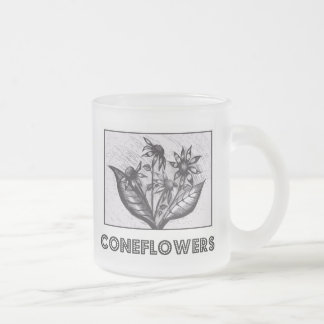 Coneflowers Frosted Glass Mug