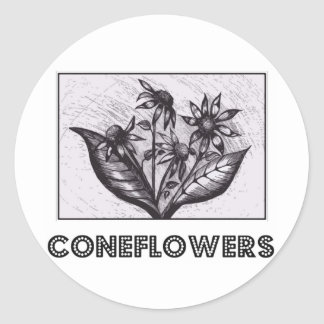 Coneflowers Round Sticker