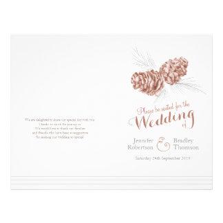 Cones brown grey winter larger wedding program 21.5 cm x 28 cm flyer