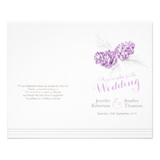 Cones purple grey winter autumn wedding program full color flyer