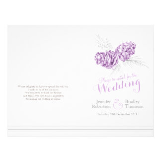 Cones purple grey winter large wedding program 21.5 cm x 28 cm flyer