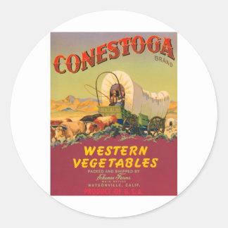 Conestoga Brand Western Vegetables Vintage Label Round Sticker