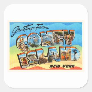 Coney Island #2 New York NY Old Travel Souvenir Square Sticker