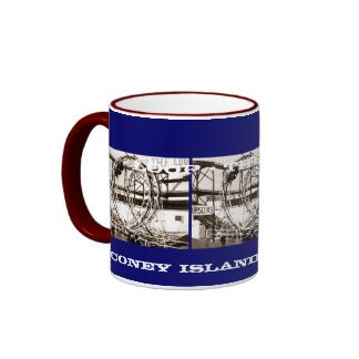 Coney Island Antique View Looping Roller Coaster Ringer Mug