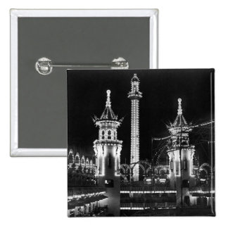 Coney Island at Night 15 Cm Square Badge