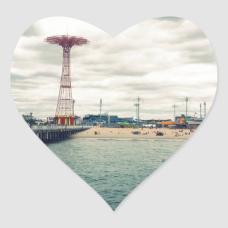 Coney Island Beach Panorama Heart Sticker