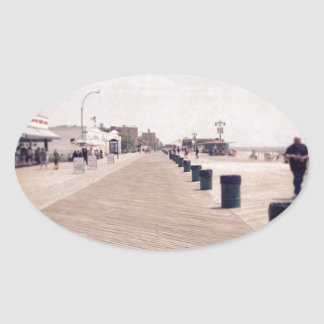 Coney Island Boardwalk Oval Sticker