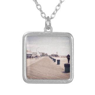 Coney Island Boardwalk Square Pendant Necklace