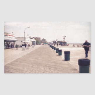 Coney Island Boardwalk Rectangular Stickers