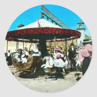 Coney Island Carousel 1890s Magic Lantern Slide Round Sticker