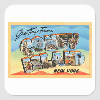 Coney Island New York NY Vintage Travel Postcard - Square Sticker