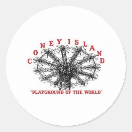 Coney Island New York - Playground of the World Round Stickers
