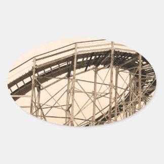 Coney Island Roller Coaster Oval Sticker