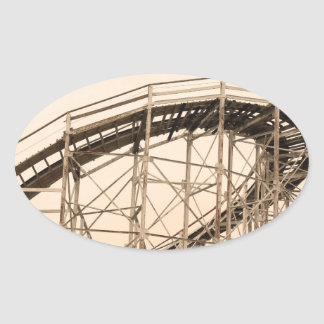 Coney Island Roller Coaster Oval Stickers